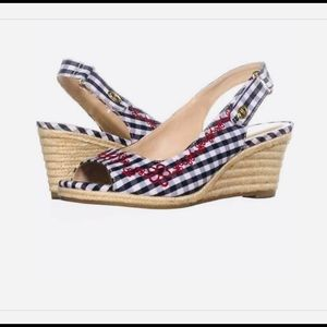 🍓Charter Club Red White Navy Espadrille Wedges